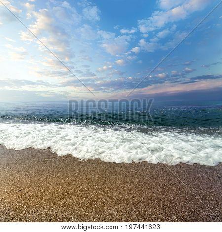 calm waves at the beach / hot summer day photo Crimea
