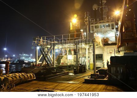 Dock of the ship on the shore
