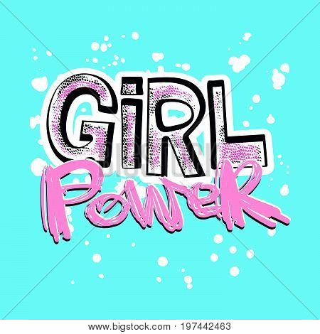 Girl Powerfeminism Slogan With Hand Lettering Drawn Motivation Poster
