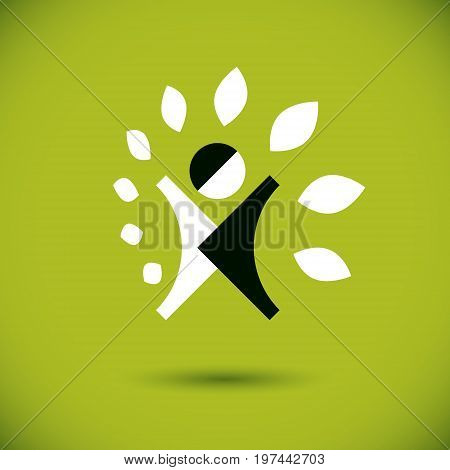Vector illustration of excited abstract man with raised reaching up. Go green idea creative logo. Vegetarian theme icon. Wellness and harmony symbol.