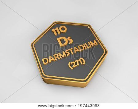 Darmtadium- Ds - chemical element periodic table hexagonal shape 3d render
