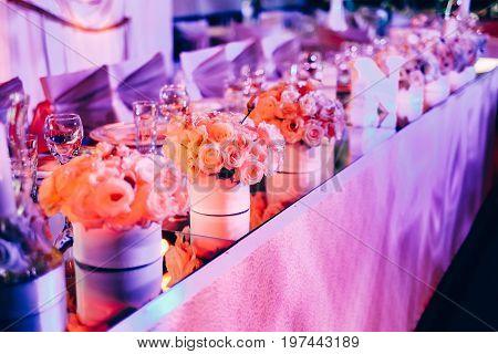Beautiful wedding table set. Wedding reception concept