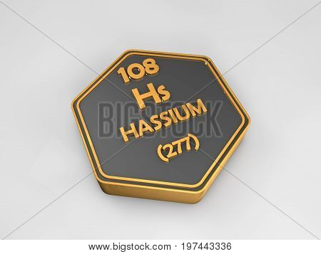 Hassium - Hs - chemical element periodic table hexagonal shape 3d render