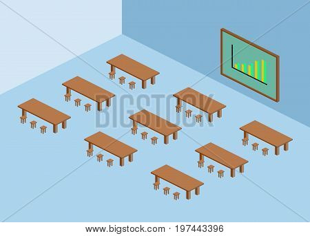 Brown table and chair with green blackboard and sell chart in blue meeting room isometric.