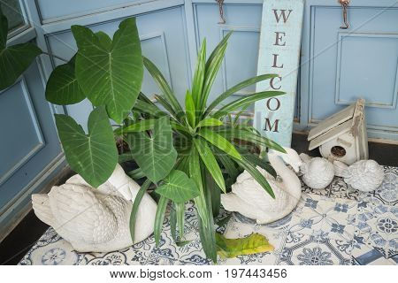 Welcome corner in front of house stock photo