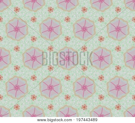 Pink Flower And Ivy Seamless Patterns