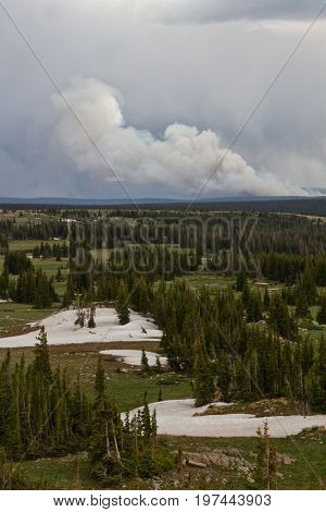 Keystone Wilfire burning in the mountains of Wyoming