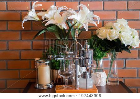 Vintage styled dinning table setting stock photo