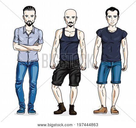 Confident handsome men standing wearing fashionable casual clothes. Vector characters set.