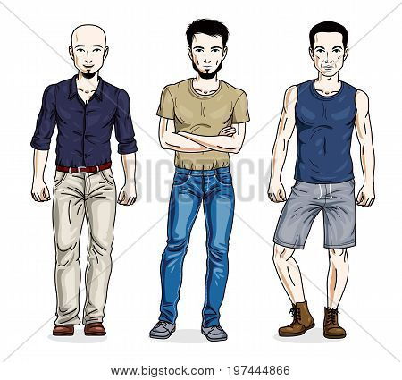 Confident handsome men standing wearing fashionable casual clothes. Vector characters set. Lifestyle theme male characters.