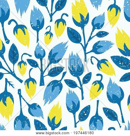 Retro seamless floral pattern. Blue flowers on white background