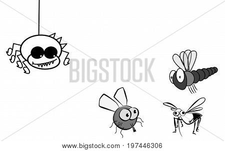Spider scrolling down harassing its preys. Black and white cartoon