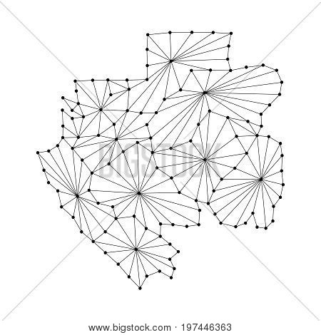 Gabon map of polygonal mosaic lines network rays and dots vector illustration.
