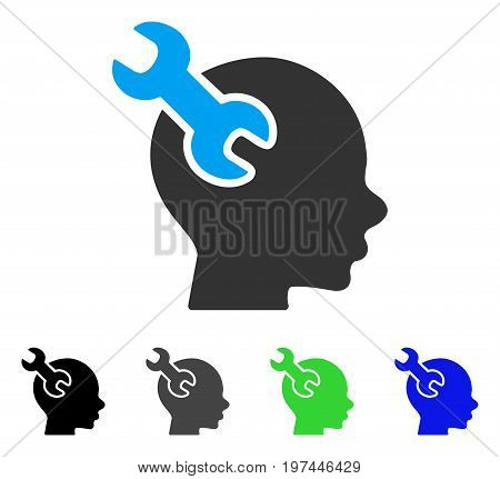 Brain Service Wrench flat vector icon. Colored brain service wrench gray black blue green pictogram versions. Flat icon style for application design.