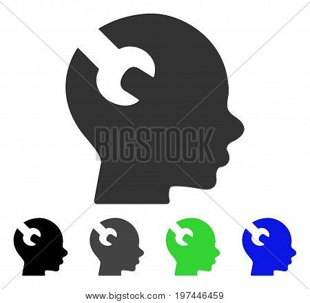 Brain Wrench Tool flat vector icon. Colored brain wrench tool gray black blue green pictogram versions. Flat icon style for web design.