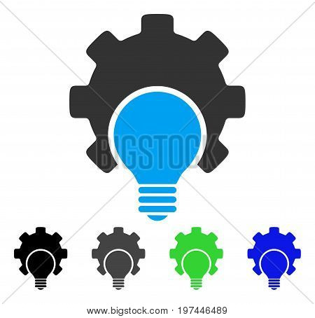 Bulb Configuration Gear flat vector pictograph. Colored bulb configuration gear gray black blue green pictogram variants. Flat icon style for web design.