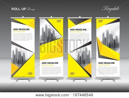 Roll up banner stand template design Yellow banner layout advertisement pull up polygon background vector illustration business flyer display x-banner flag-banner infographics presentation