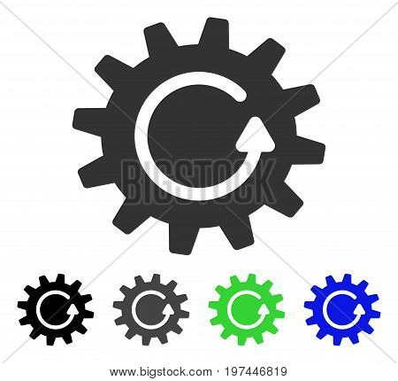 Cogwheel Rotation flat vector illustration. Colored cogwheel rotation gray black blue green icon versions. Flat icon style for graphic design.
