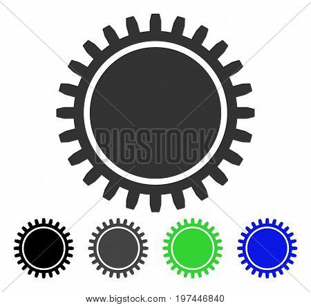 Cogwheel flat vector icon. Colored cogwheel gray black blue green pictogram variants. Flat icon style for web design.