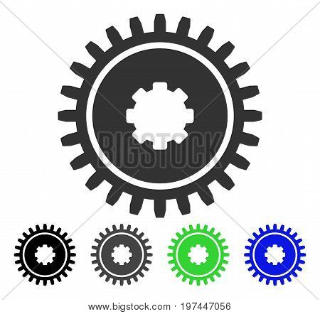 Cogwheel flat vector illustration. Colored cogwheel gray black blue green pictogram variants. Flat icon style for web design.