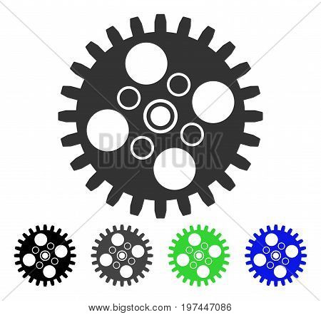 Cogwheel flat vector pictogram. Colored cogwheel gray black blue green icon versions. Flat icon style for application design.
