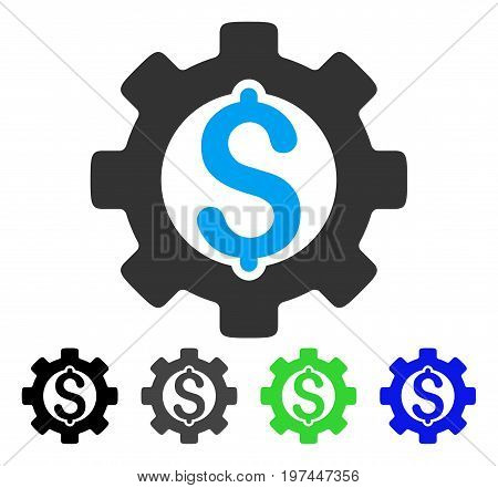 Development Cost flat vector illustration. Colored development cost gray black blue green icon variants. Flat icon style for web design.