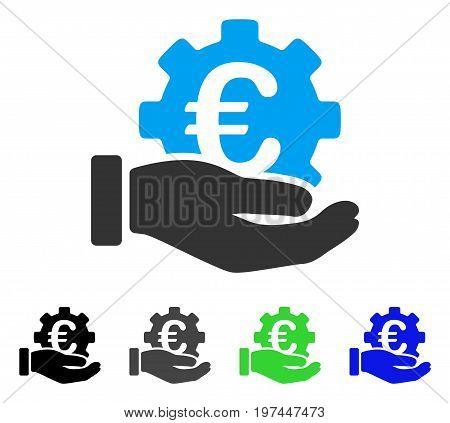 Euro Development Service Hand flat vector illustration. Colored euro development service hand gray black blue green icon versions. Flat icon style for web design.