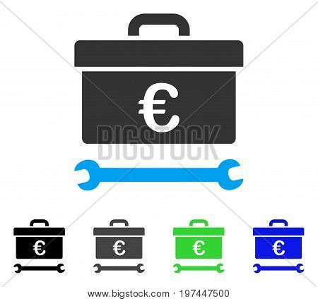Euro Toolbox flat vector pictograph. Colored euro toolbox gray black blue green pictogram variants. Flat icon style for application design.