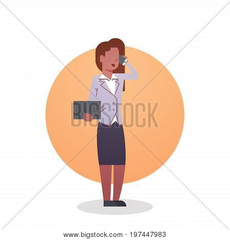 African American Business Woman Icon Lady Secretary Occupation Flat Vector Illustration