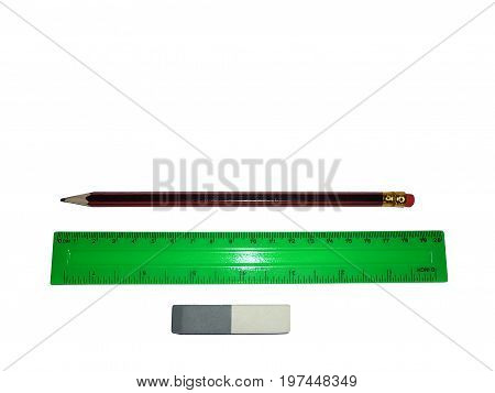 Simple eraser pencil and ruler isolated on white background