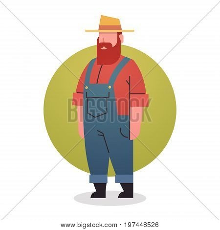 Farmer Man Icon Agriculture Worker Professional Occupation Flat Vector Illustration