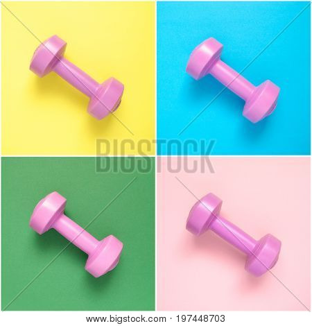 Collage of pink dumbbells on colorful background