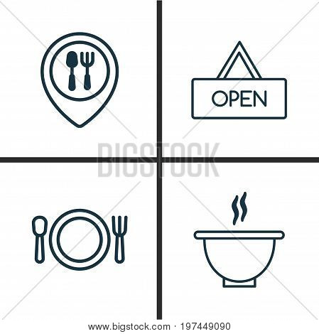 Icons Set. Collection Of Cutlery, Food Mapping, Board And Other Elements