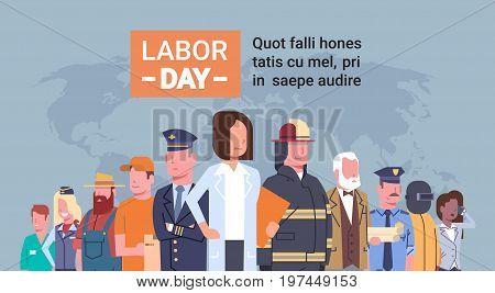 People Group Different Occupation Over World Map, International Labor Day, International Labor Day Flat Vector Illustration