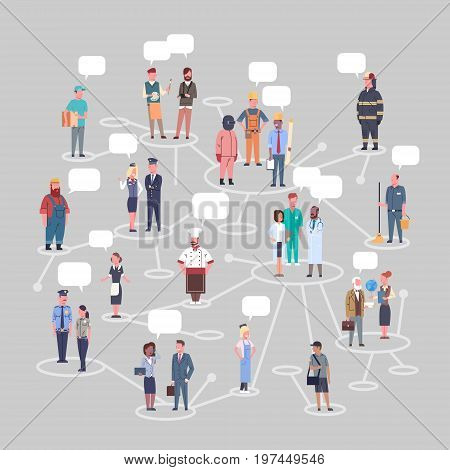 People Group Conncetion Different Occupation Set Workers Profession Collection Flat Vector Illustration