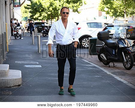 MILAN- 18 June 2017 Tiberio Pellegrinelli on the street during the Milan Fashion Week