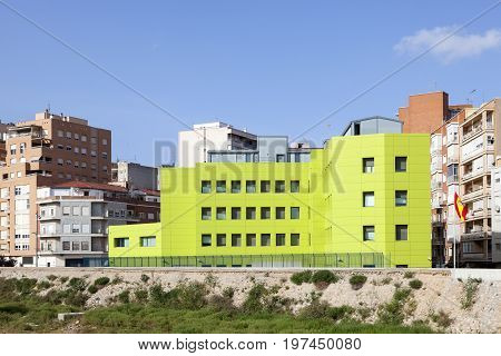 Cartagena Spain - May 28 2017: Green building in the city of Cartagena. Province of Murcia Spain