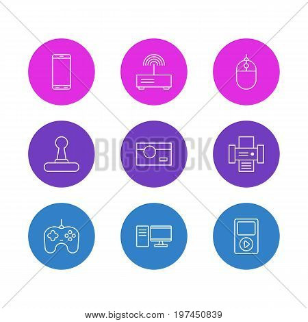 Editable Pack Of Joypad, Modem, Game Controller And Other Elements.  Vector Illustration Of 9 Gadget Icons.