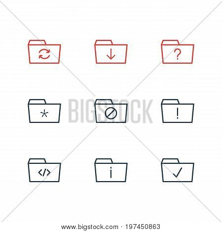 Editable Pack Of Script, Done, Significant And Other Elements.  Vector Illustration Of 9 Dossier Icons.