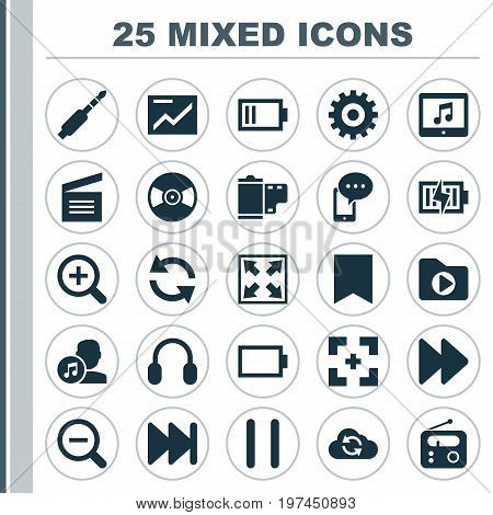 Media Icons Set. Collection Of Energy, Gear, Forward And Other Elements