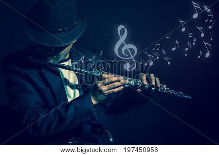 Flute music playing flutist musician performer with music notes on black background musical instrument