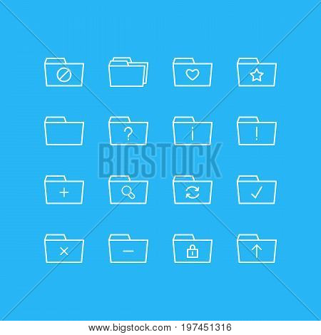 Editable Pack Of Closed, Plus, Folders And Other Elements.  Vector Illustration Of 16 Folder Icons.
