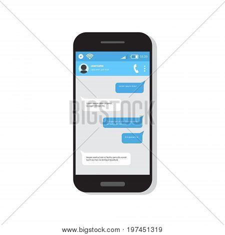 Smart Phone With Chatting Sms Bubble Messages Flat Vector Illustration