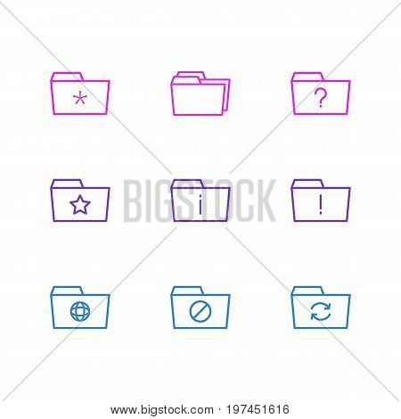 Editable Pack Of Dossier, Question, Pinned And Other Elements.  Vector Illustration Of 9 Folder Icons.