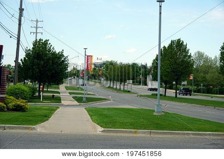 BIG RAPIDS, MICHIGAN / UNITED STATES - MAY 22, 2017: A view of State Street, which is the principal avenue through Big Rapids.