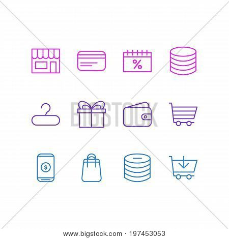 Editable Pack Of Present, Pocketbook, Box And Other Elements.  Vector Illustration Of 12 Commerce Icons.