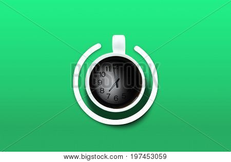 Coffee cup Look like power-on symbol with clock time over the green background. Energy and active concept