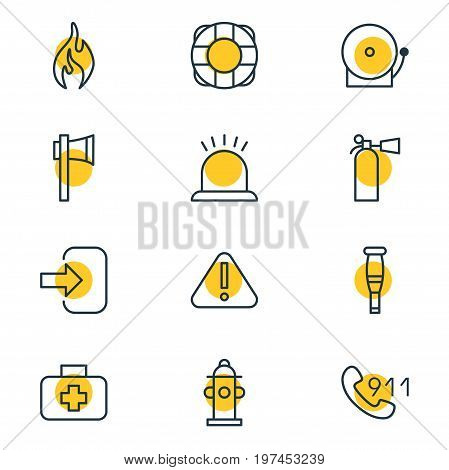 Editable Pack Of Burn, Medical Case, Safety And Other Elements.  Vector Illustration Of 12 Emergency Icons.