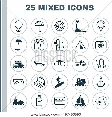 Tourism Icons Set. Collection Of Camping House, Cop Hat, Shipping Tour And Other Elements