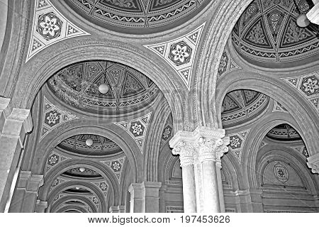 CHERNIVTSI, UKRAINE - APRIL 22, 2017: Beautiful patterns on the ceiling and colonnade in Chernivtsi University, Western Ukraine, Europe. Black and white